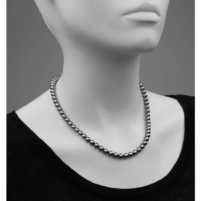 Pearl necklace dark grey 6mm - rose gold plated sterling silver - ARLIZI 1188 - Noa