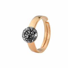 Ring black crystal - silver rose gold plated - 1312