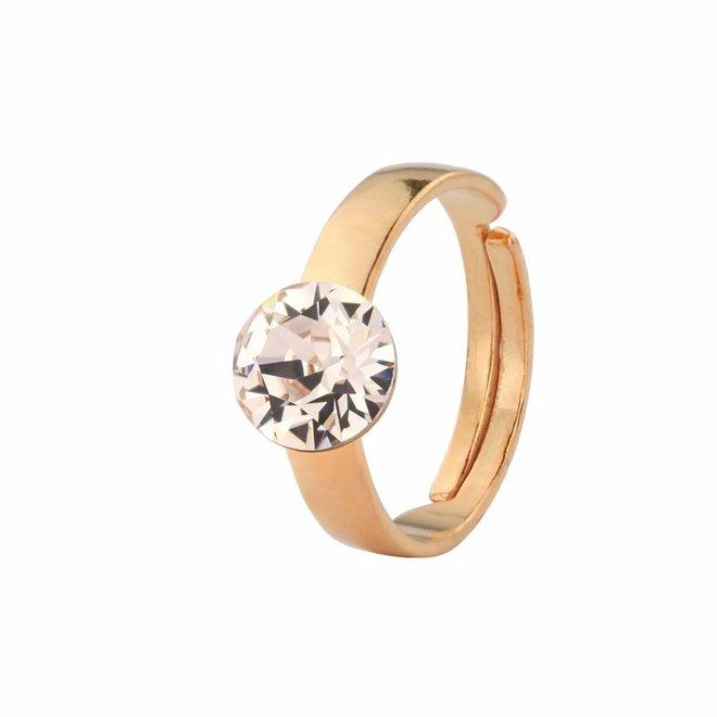 Ring champagnekleurig Swarovski kristal - rosé verguld sterling zilver - ARLIZI 1309 - Lucy
