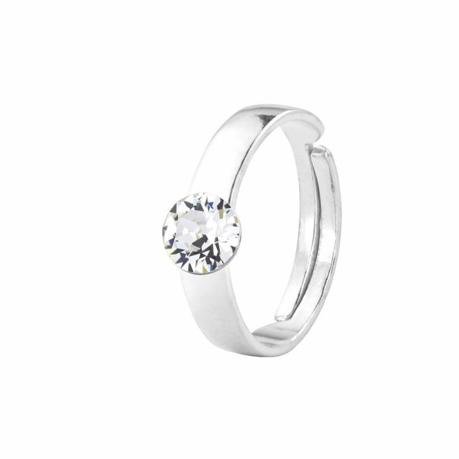Ring transparent Swarovski crystal 6mm - sterling silver - ARLIZI 1408 - Lucy