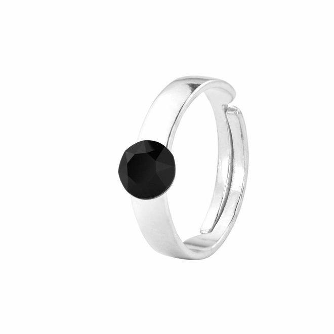 Ring black Swarovski crystal 6mm - sterling silver - 1409