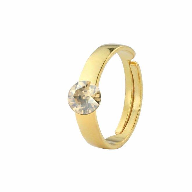 Ring goudkleurig Swarovski kristal 6mm - verguld zilver - ARLIZI 1418 - Lucy