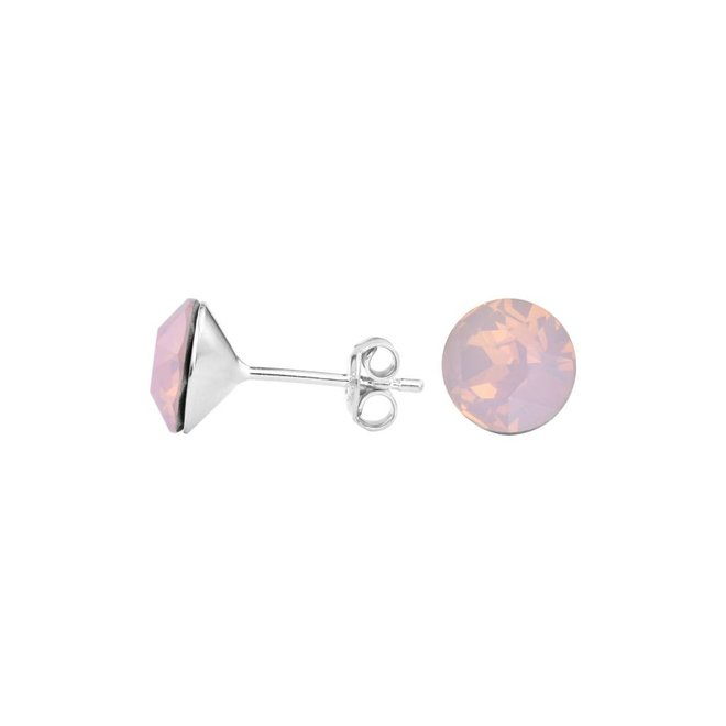 Ohrringe rosa Kristall Ohrstecker 8mm - Sterling Silber - 1426