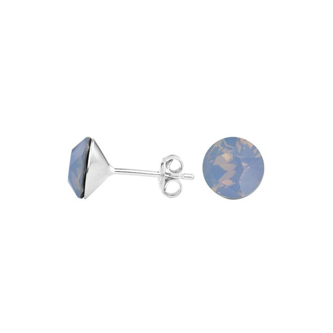 Oorbellen blauw kristal oorstekers 8mm - sterling zilver - 1428