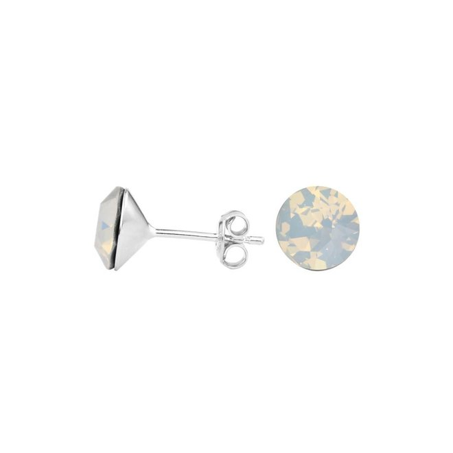 Earrings white crystal ear studs 8mm - sterling silver - 1430