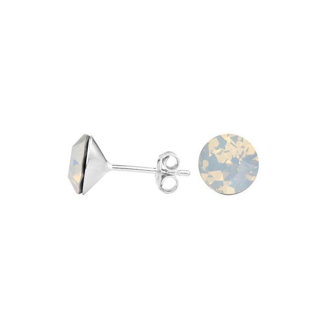 Oorbellen wit kristal oorstekers 8mm - sterling zilver - 1430