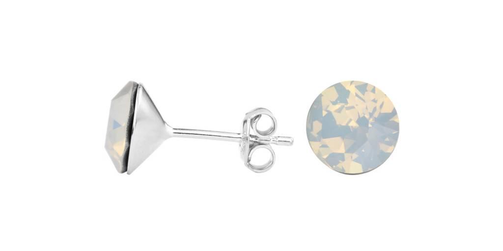 2b35f59fe Earrings white opal Swarovski crystal ear studs 8mm - sterling silver -  ARLIZI 1430 - Lucy