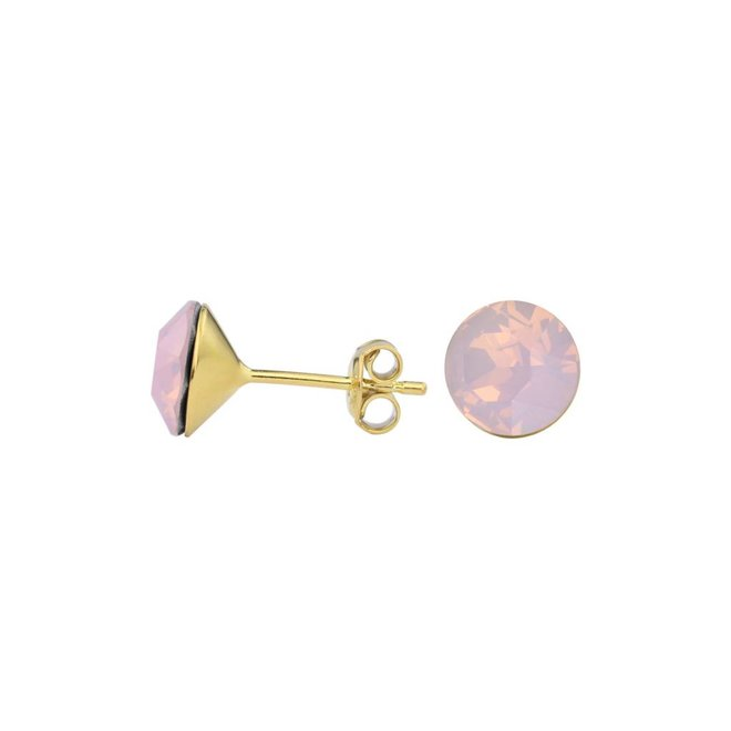 Earrings pink crystal ear studs 8mm - silver gold plated - 1432