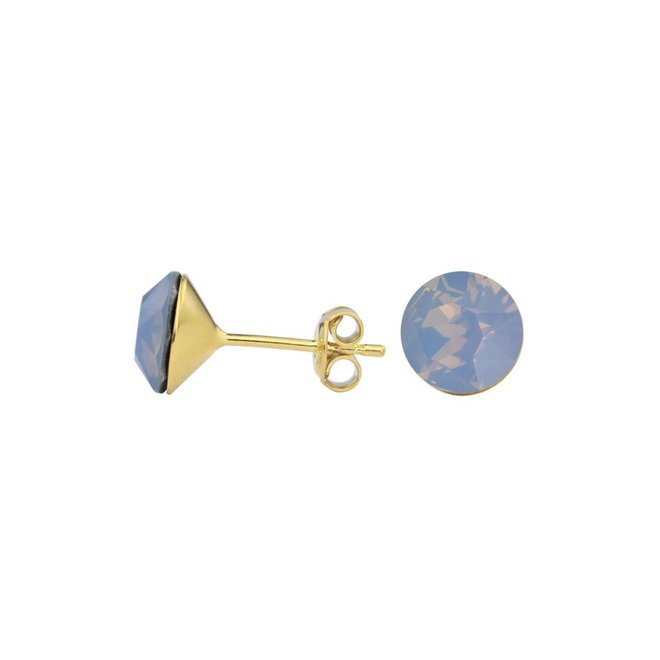 Earrings blue crystal ear studs 8mm - silver gold plated - 1434