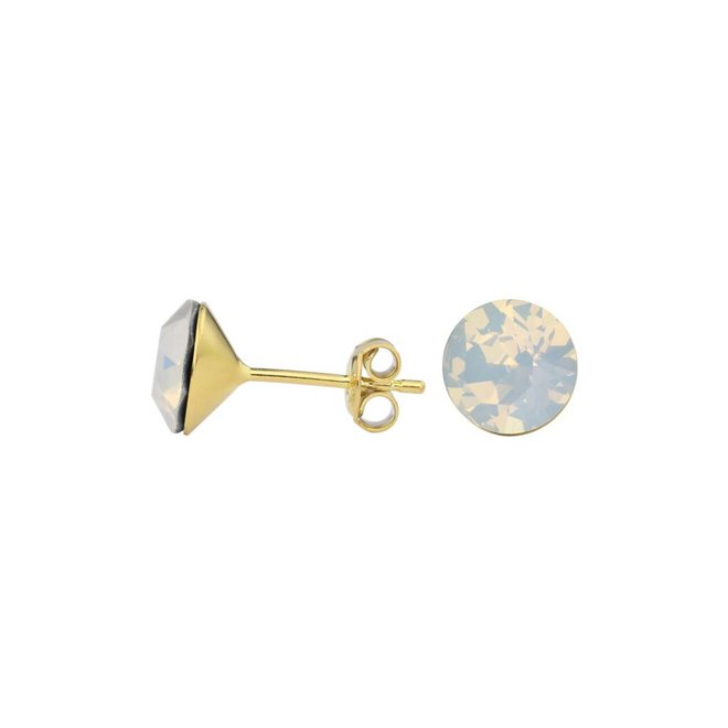 Earrings white crystal ear studs 8mm - silver gold plated - 1436