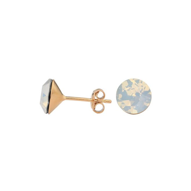 Earrings white opal Swarovski crystal ear studs 8mm - rose gold plated silver - ARLIZI 1442 - Lucy