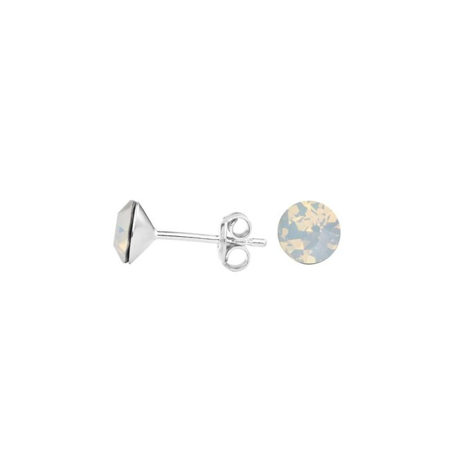 Oorbellen wit kristal oorstekers 6mm - sterling zilver - 1429