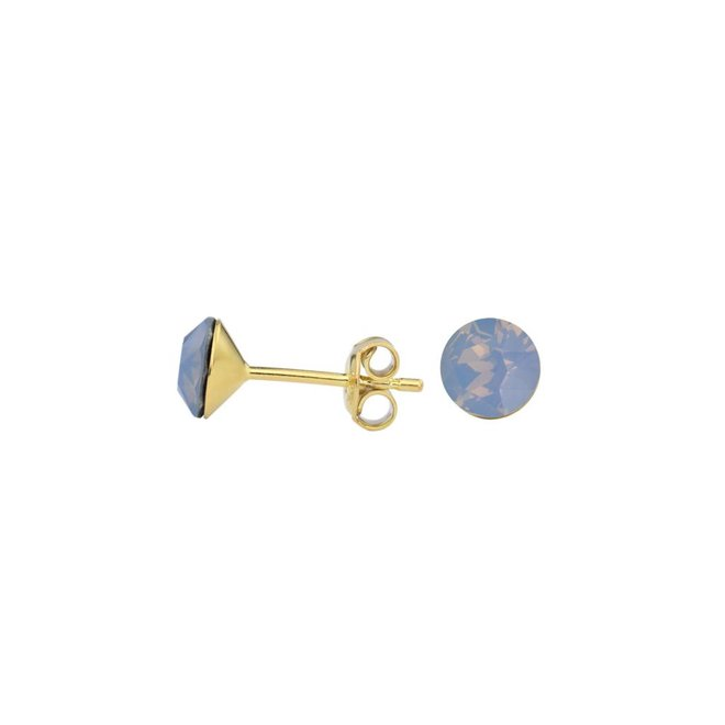 Earrings blue crystal ear studs 6mm - silver gold plated - 1433