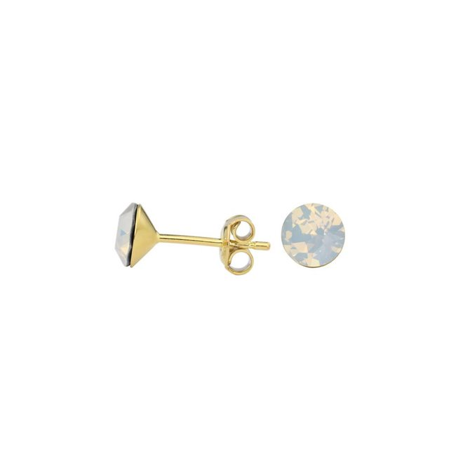 Earrings white crystal ear studs 6mm - silver gold plated - 1435