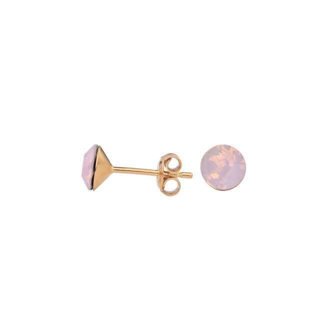 Earrings pink crystal 6mm - silver rose gold plated - 1437