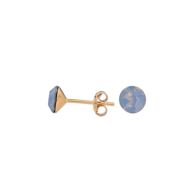 Earrings blue crystal 6mm - silver rose gold plated - 1439