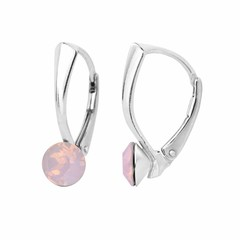 Earrings Swarovski opal crystal 6mm - sterling silver - 1452