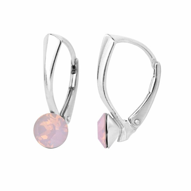 Oorbellen roze opaal kristal 6mm - sterling zilver - 1452