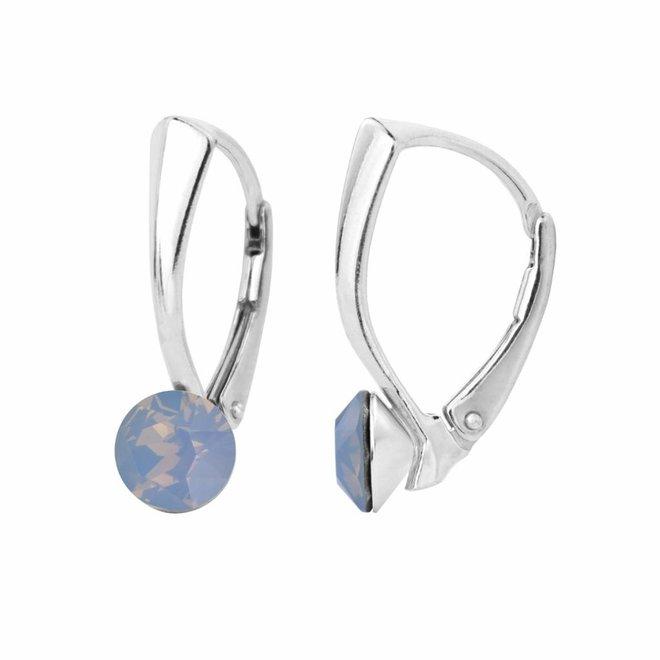 Oorbellen blauw opaal kristal 6mm - sterling zilver - 1453