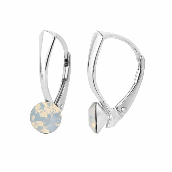 Ohrringe weiß Opal Kristall 6mm - Sterling Silber - 1454