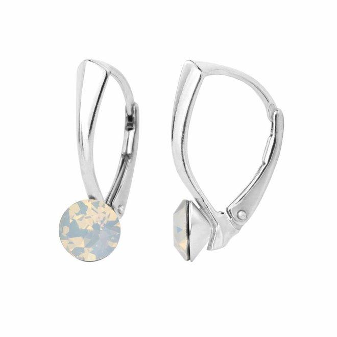 Oorbellen wit opaal kristal 6mm - stering zilver - 1454