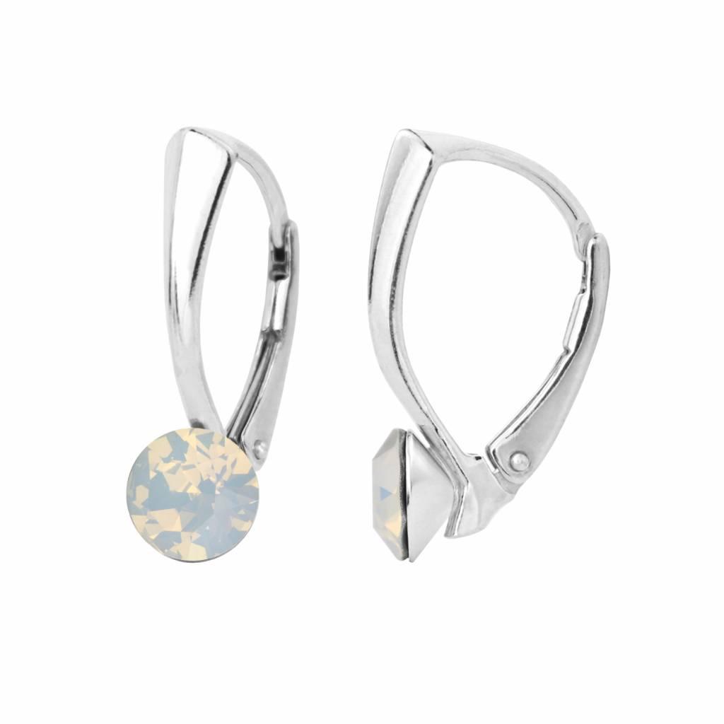 148c49c1a Earrings white opal Swarovski crystal 6mm - sterling silver - ARLIZI 1454 -  Lucy