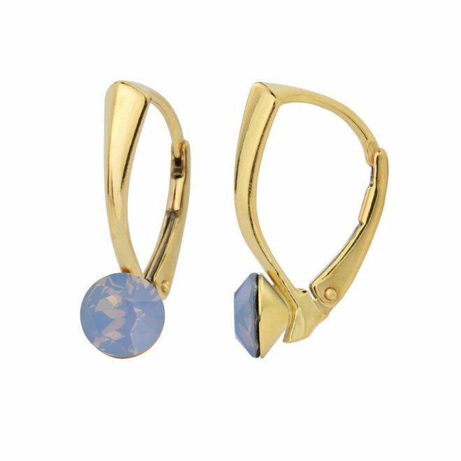 Earrings blue opal crystal 6mm - silver gold plated - 1456