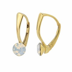 Earrings white opal crystal 6mm - silver gold plated - 1457