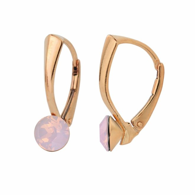 Earrings pink opal Swarovski crystal 6mm - rose gold plated silver - ARLIZI 1458 - Lucy