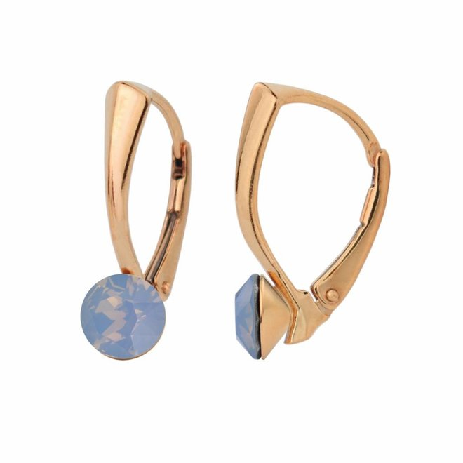 Earrings blue crystal 6mm - silver rose gold plated - 1459