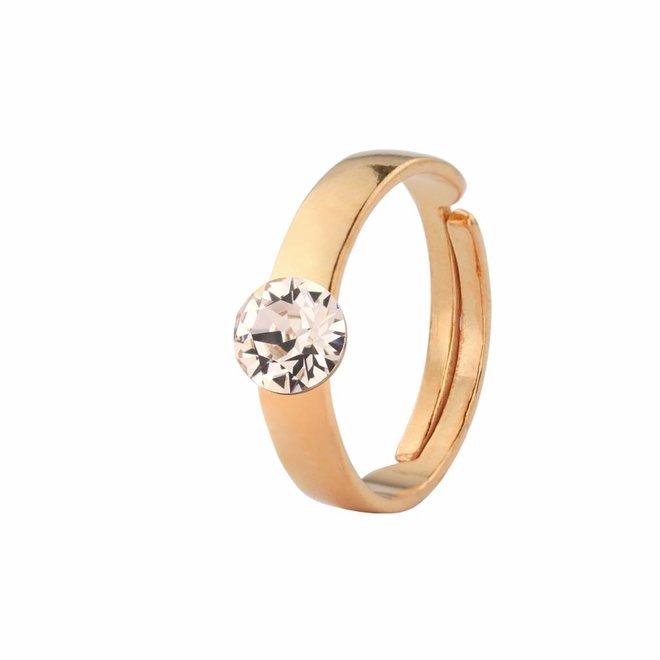 Ring champagne kristal 6mm - zilver rosé verguld - 1476