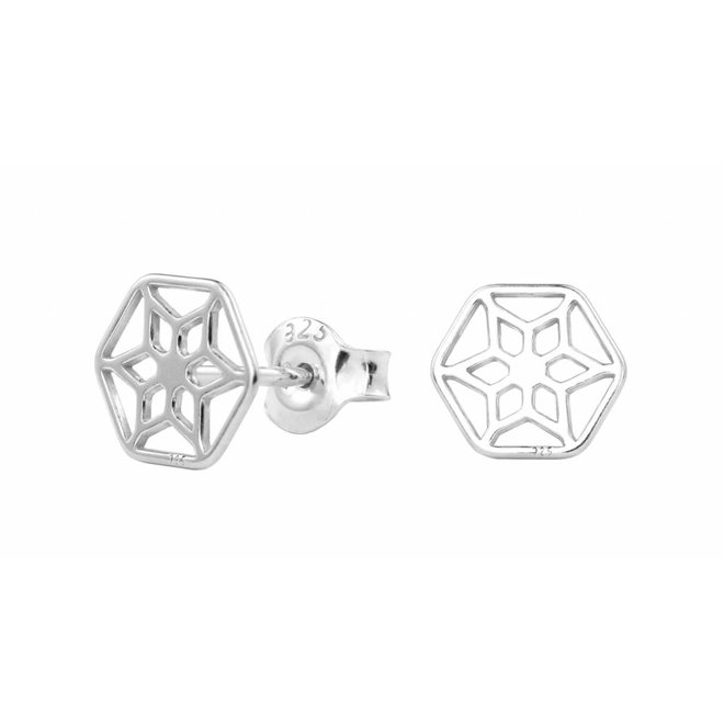 Earrings filigree studs - sterling silver - 1389