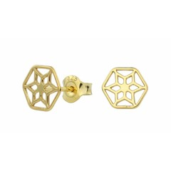 Earrings filigree studs - silver gold plated - 1390