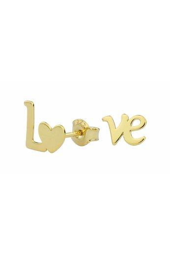Earrings LOVE ear studs - gold plated sterling silver - ARLIZI 1393 - Zoe