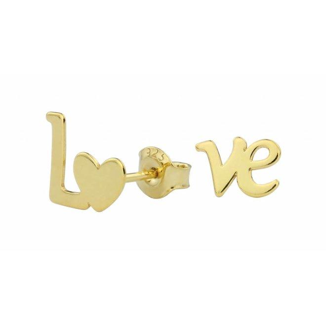 Oorbellen LOVE oorstekers - zilver verguld - 1393