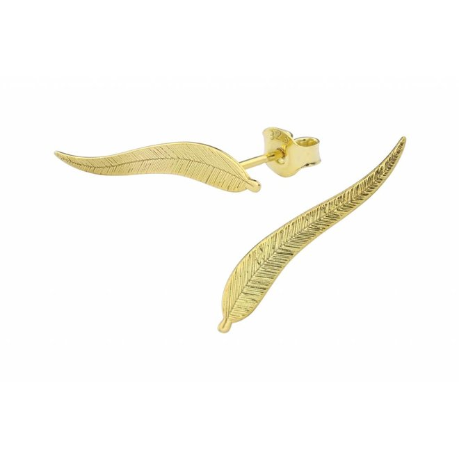 Earrings leaf feather ear climber - gold plated sterling silver - ARLIZI 1398 - Lily