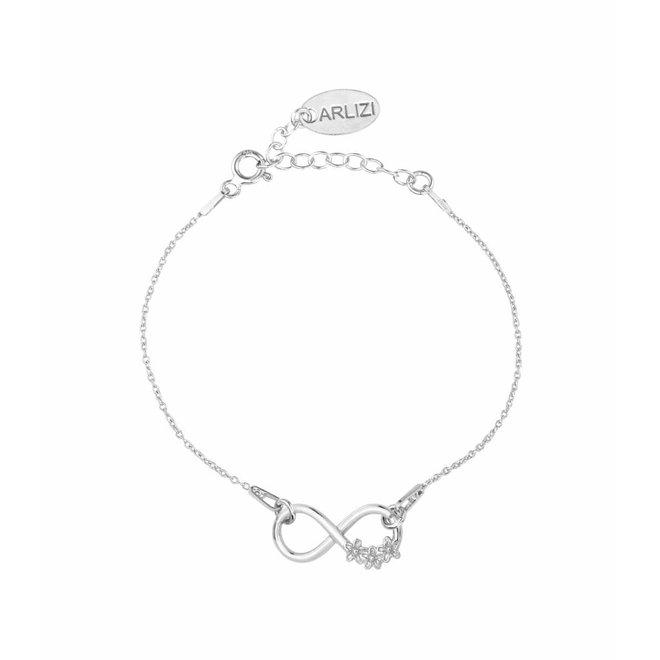 Bracelet infinity symbol flowers - sterling silver - 1319