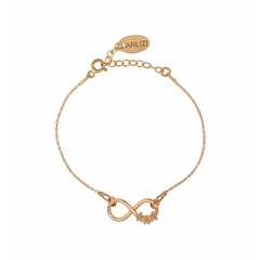 Bracelet infinity flowers - silver rose gold plated - 1321