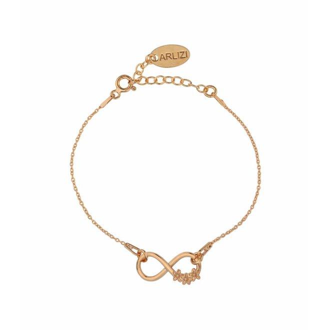 Armband Infinity Blumen - Silber rosé vergoldet - 1321