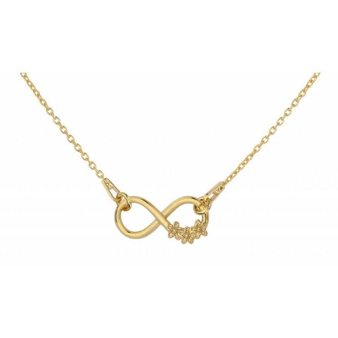 Halskette Infinity Blumen - Silber vergoldet - 1317