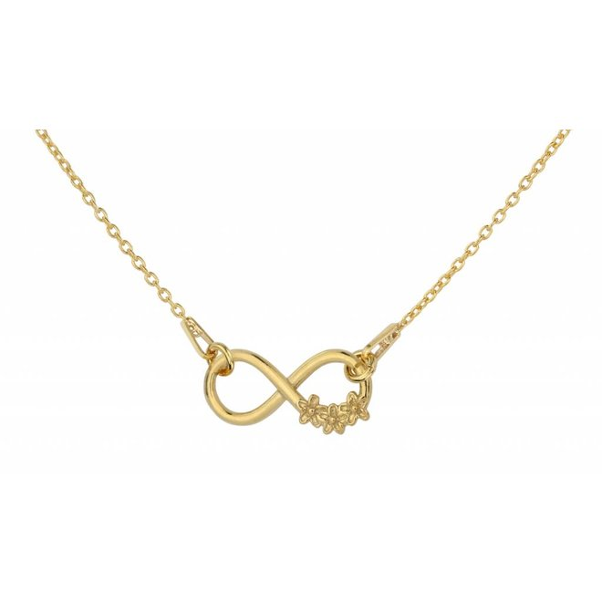 Necklace infinity flowers - silver gold plated - 1317
