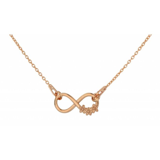 Necklace infinity flowers - silver rose gold plated - 1318
