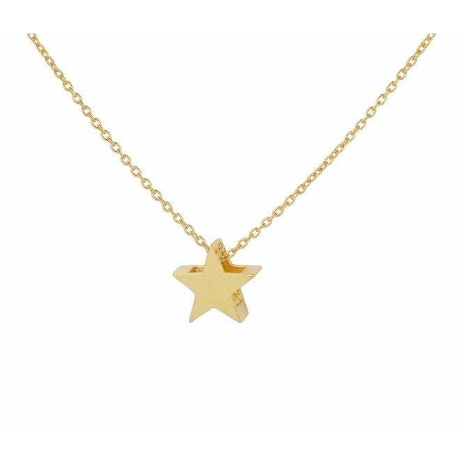 Halskette Stern Anhänger - Silber vergoldet - 1444
