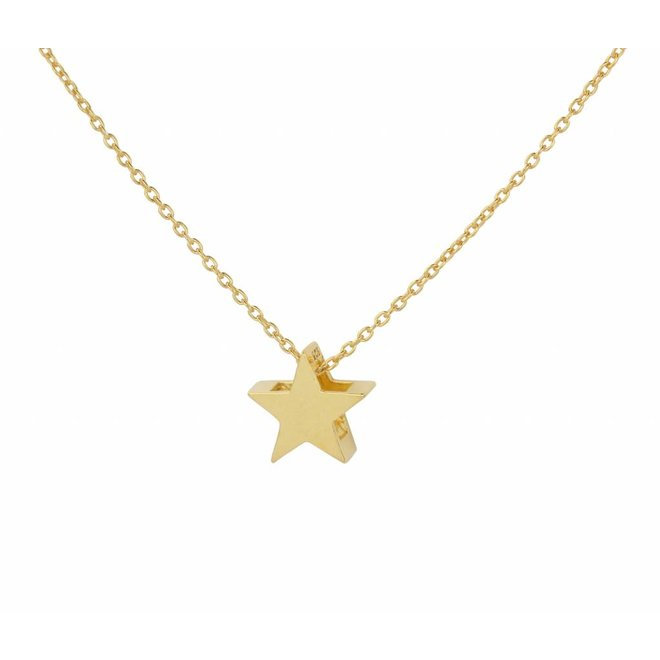 Necklace star pendant - silver gold plated - 1444