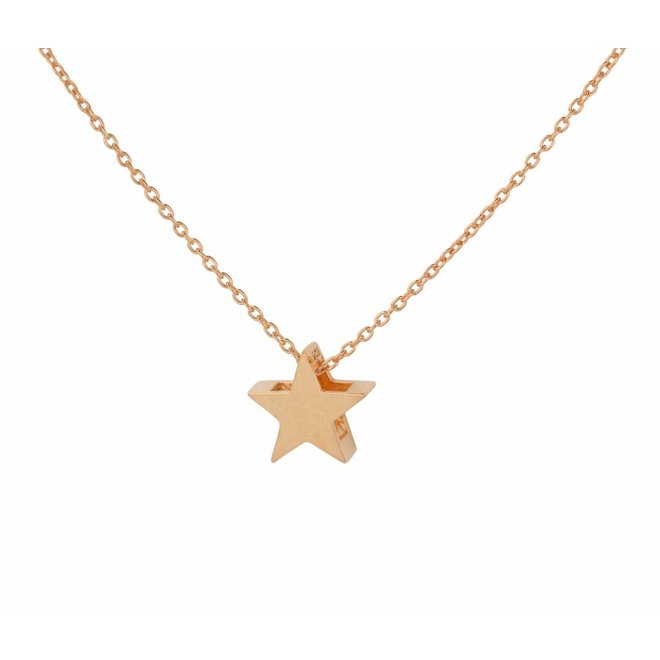 Necklace star pendant - silver rose gold plated - 1445