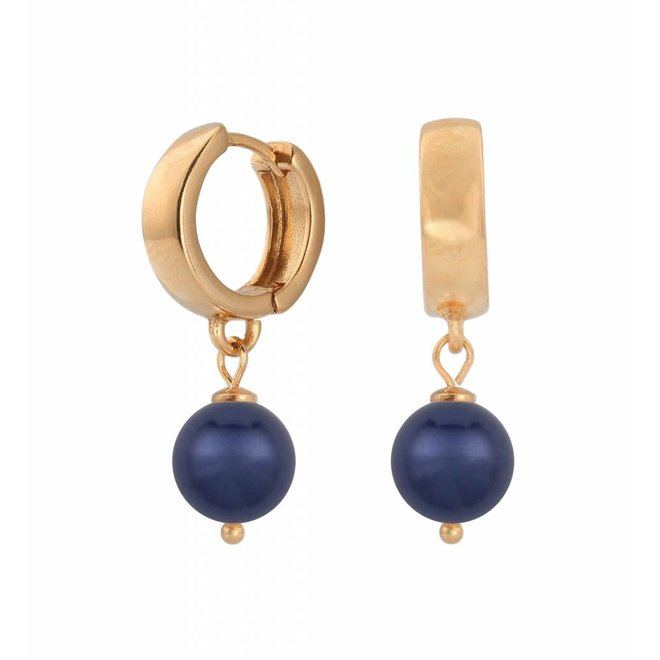 Ohrringe dunkelblau Perle Creolen - Silber rosé vergoldet - ARLIZI 1504 - Natalia