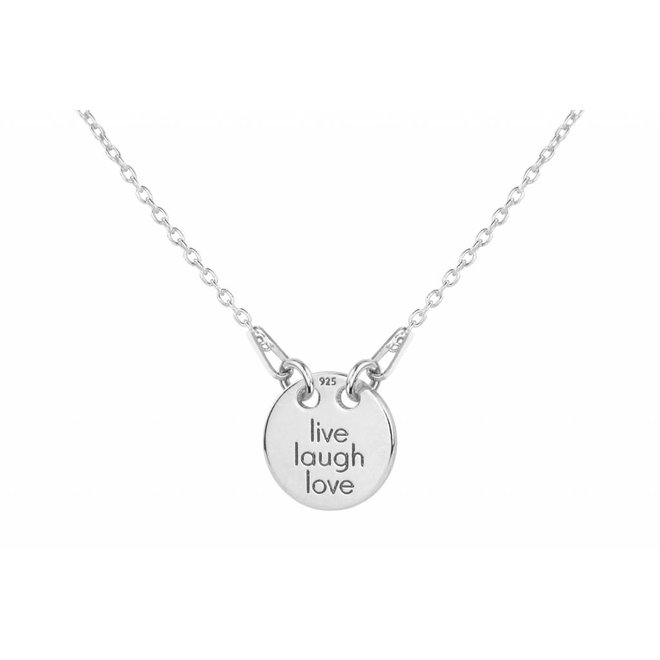 Necklace live laugh love charm pendant - sterling silver - 1446