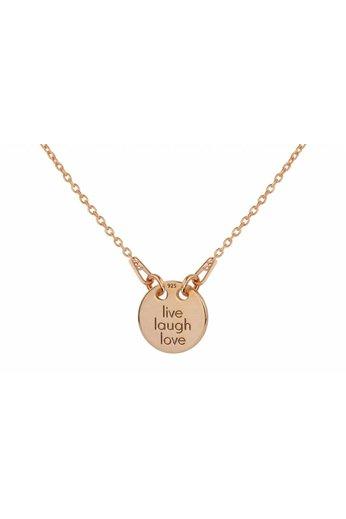 Necklace live laugh love charm pendant - rose gold plated silver - ARLIZI 1448 - Kendal