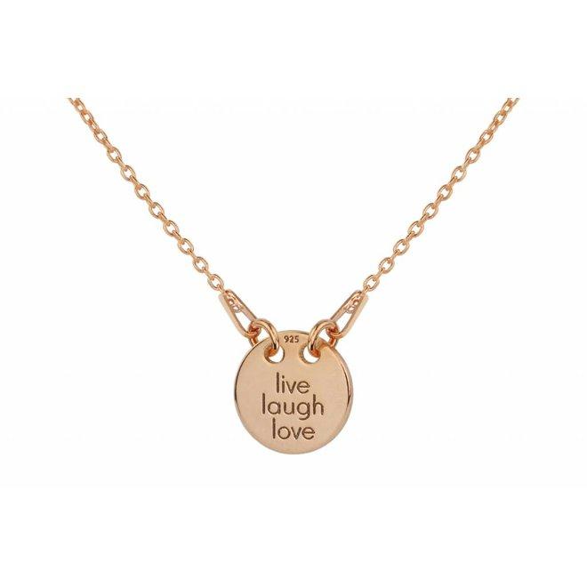 Ketting live laugh love hanger - zilver rosé verguld - 1448