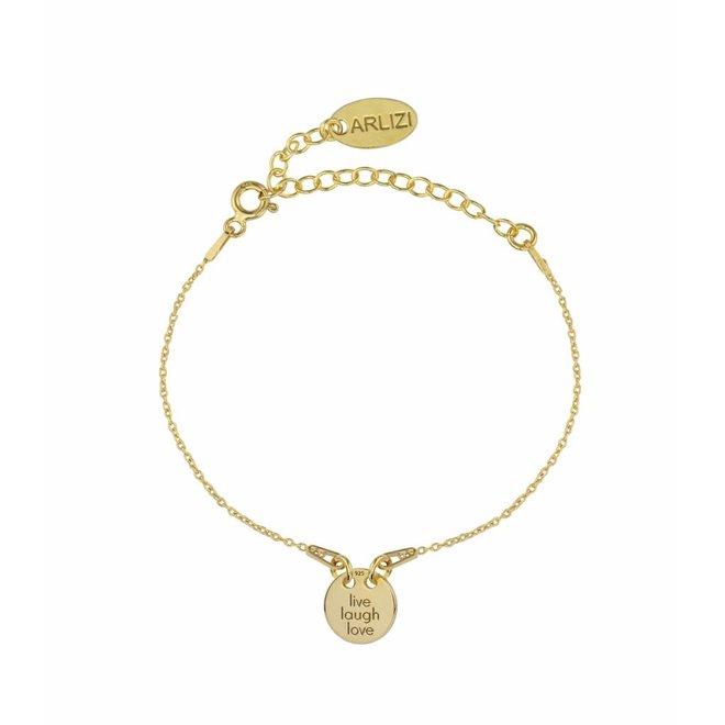Bracelet live laugh love charm - sterling silver gold plated - ARLIZI 1450 - Kendal